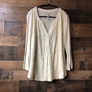 Lauren Conrad Cream Lace Popover Blouse